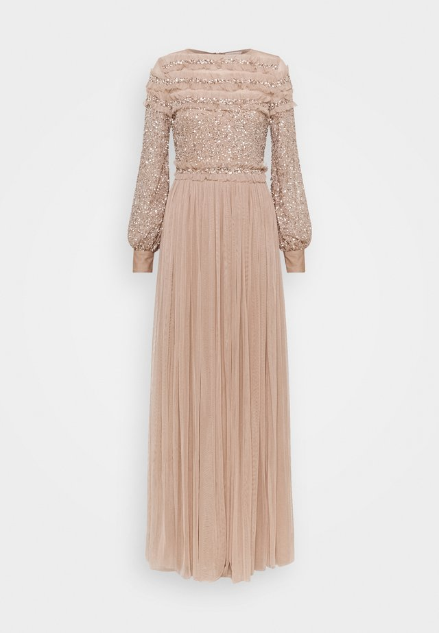 BLOUSON SLEEVE DELICATE SEQUIN MAXI DRESS WITH RUFFLES - Occasion wear - taupe blush