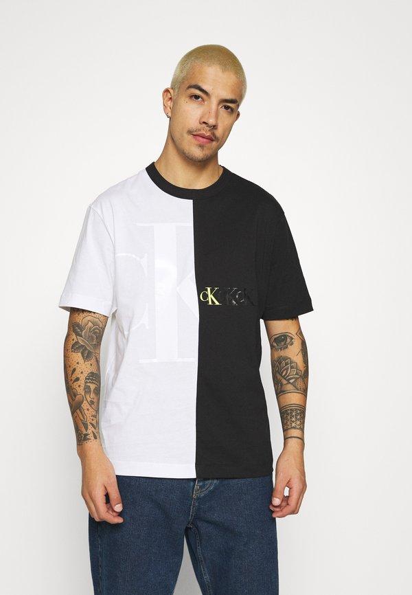 Calvin Klein Jeans BLOCKING TEE - T-shirt z nadrukiem - bright white/biały Odzież Męska BXMA