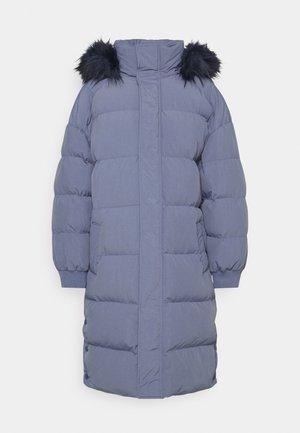 TRIM HOODED LONGLINE PUFFER - Winter coat - blue