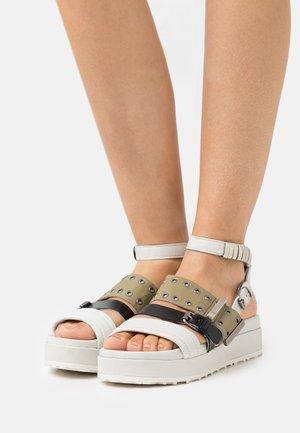 MAY - Platform sandals - panna/nero/uniform