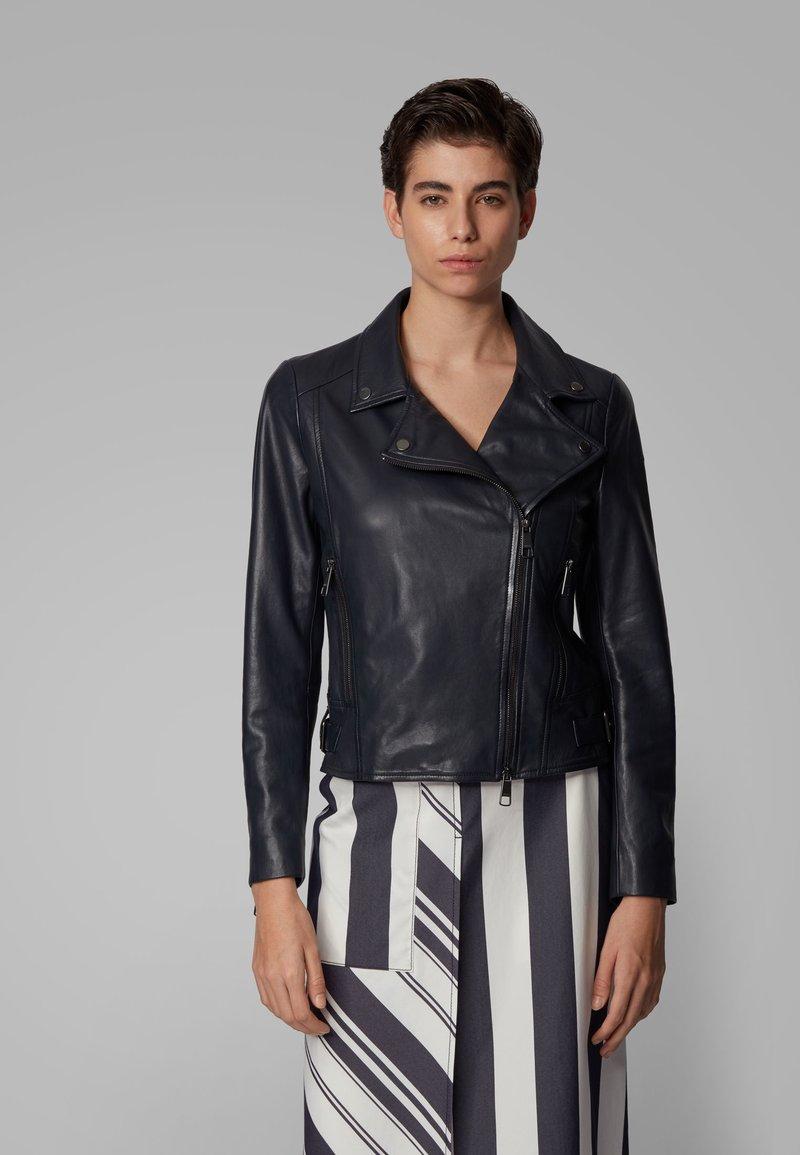 BOSS - JUANA - Leather jacket - open blue