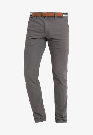 SOFT PEACHED WITH BELT - Chino - dark grey