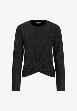 MET GLITTERGAREN EN KNOOPDETAIL - Long sleeved top - black