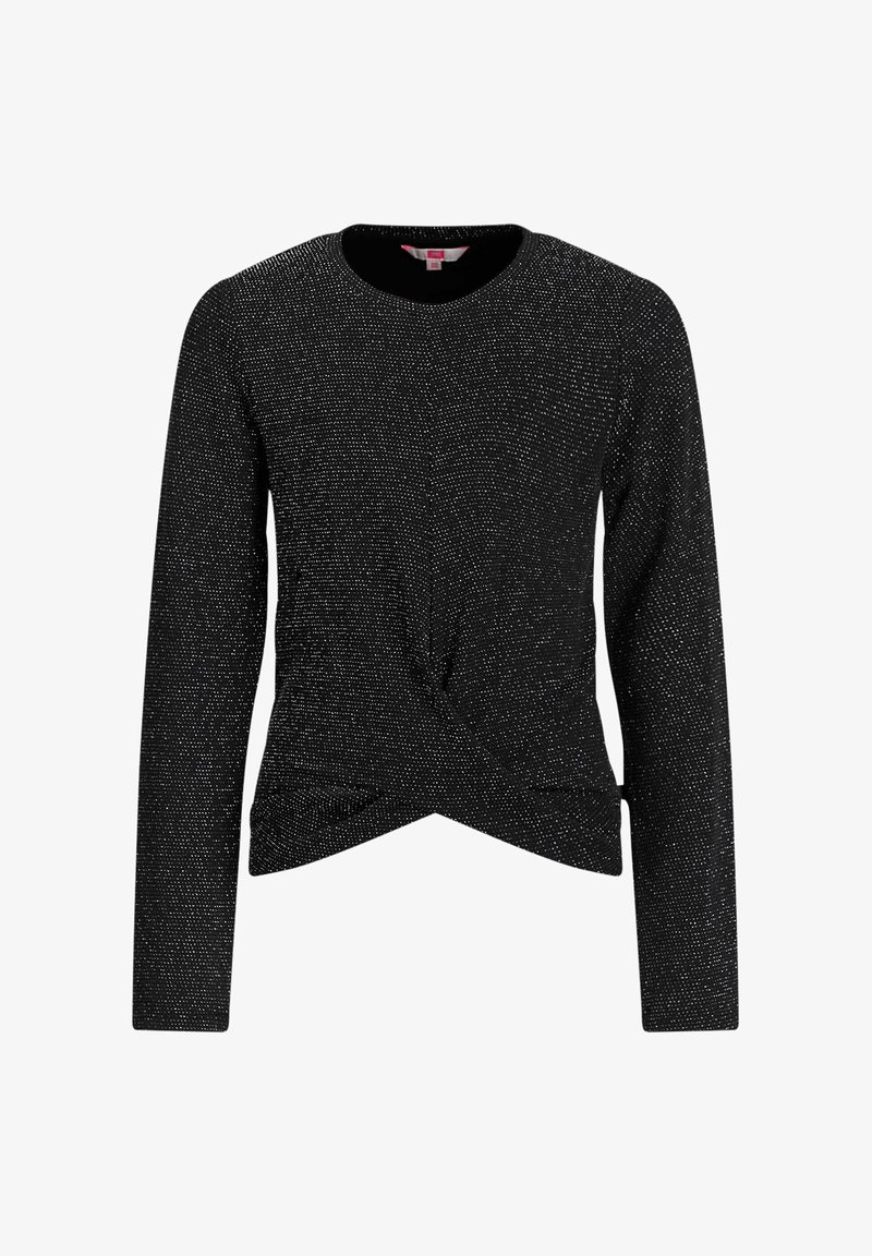 WE Fashion - MET GLITTERGAREN EN KNOOPDETAIL - Long sleeved top - black