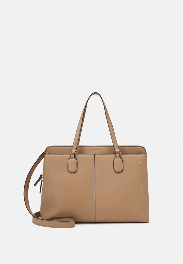 HARRIET PADDED BUCKLE LAPTOP BAG - Kabelka - taupe