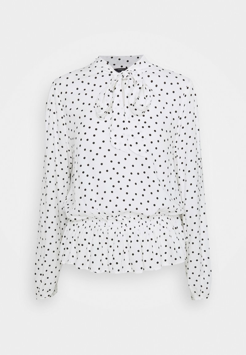 Marks & Spencer London - SPOT PEPLUM TOP - Long sleeved top - off-white