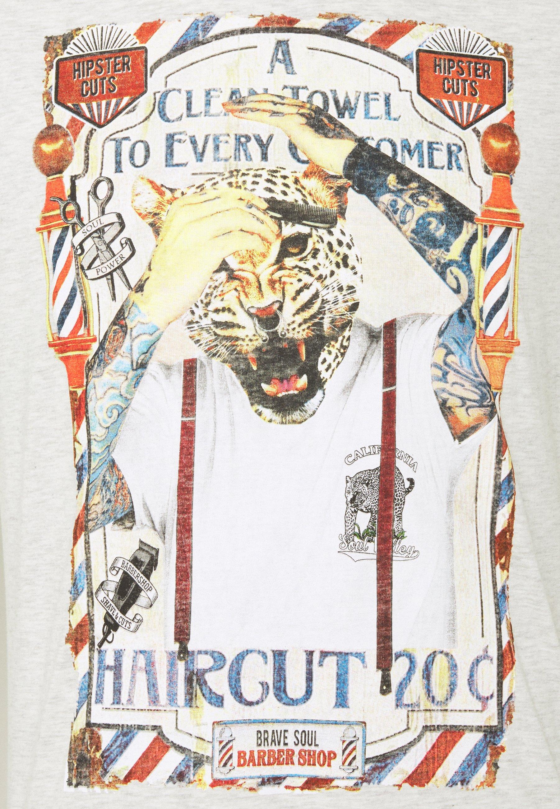 Brave Soul RAZOR - Print T-shirt - ecru marl b0PuT