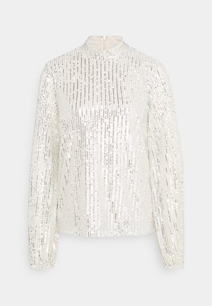HIGH NECK SEQUIN BLOUSE - Langærmede T-shirts - grey