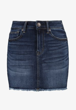 DARK CLEAN FRAY - Denim skirt - horizon blue