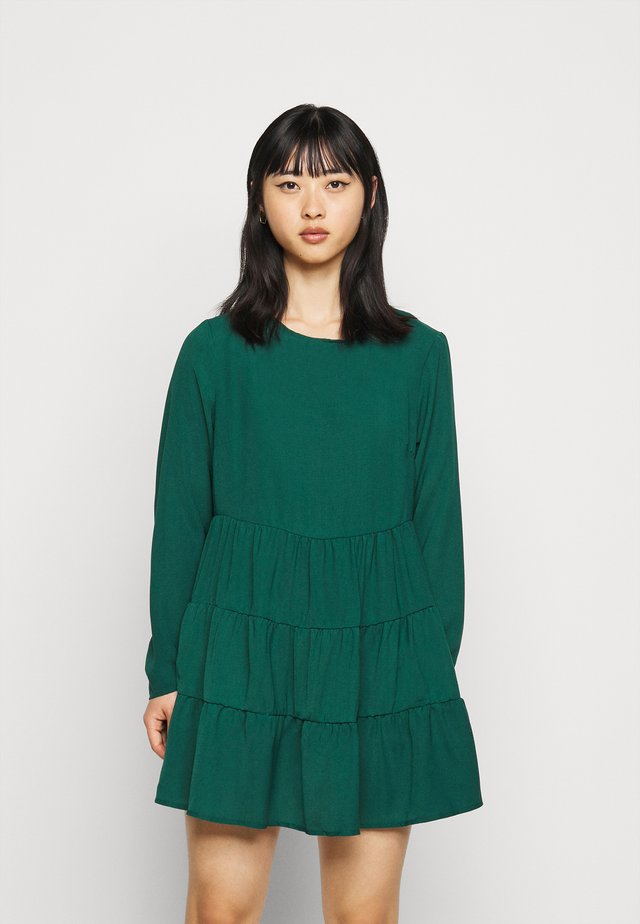 TIERED SMOCK DRESS  - Vestido informal - dark green