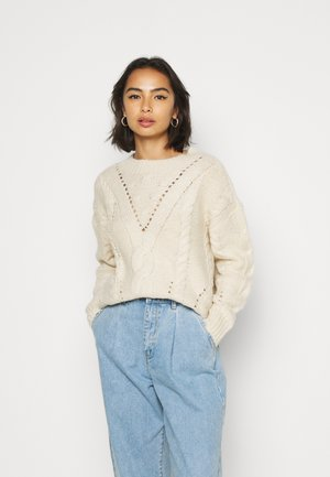VMPACA CABLE - Strickpullover - birch/white melange