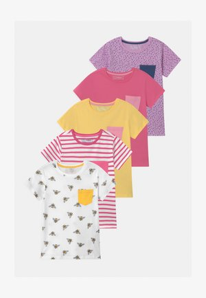 5 PACK - Camiseta estampada - pink/yellow/white