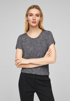 Blouse - dark navy hearts minimal