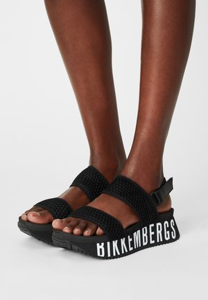 REBECA - Platform sandals - black/white