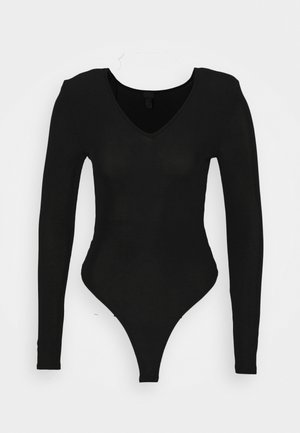SHOULDER PAD BODY - Long sleeved top - black