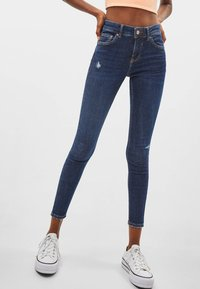 Bershka - PUSH-UP MID WAIST - Jeans Skinny Fit - dark blue - 0