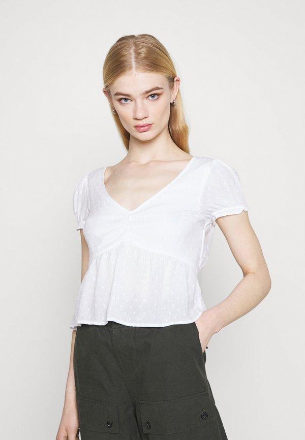 Hollister Co. BABYDOLL - Bluzka - pretty white/biały ZGMR