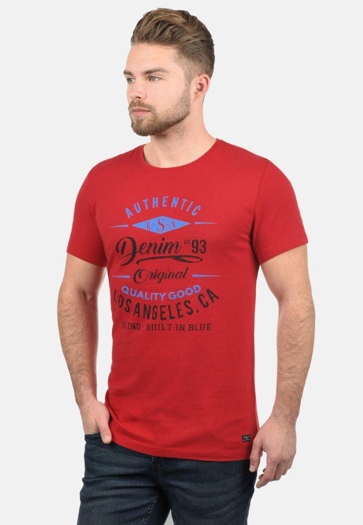 Blend - RUNDHALSSHIRT DOPPLER - Print T-shirt - pomp red