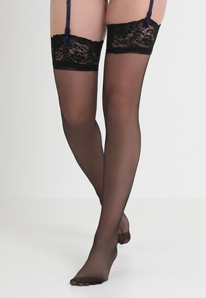 PLAIN LEG TOPPED STOCKINGS - Calze parigine - black