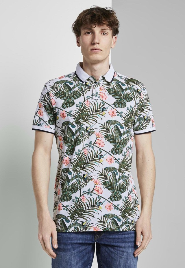 ALLOVER-PRINT - Polo - white colorful botanical print