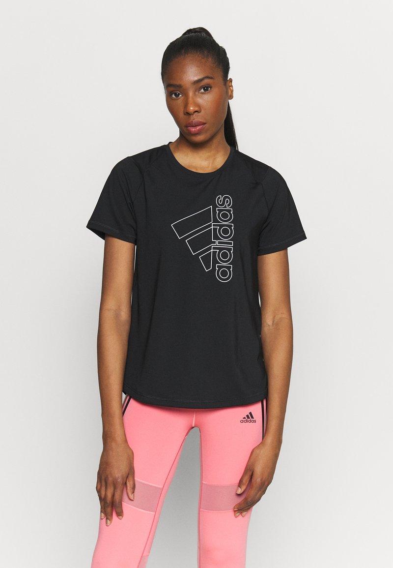 adidas Performance - TECH  - T-shirt imprimé - black/white