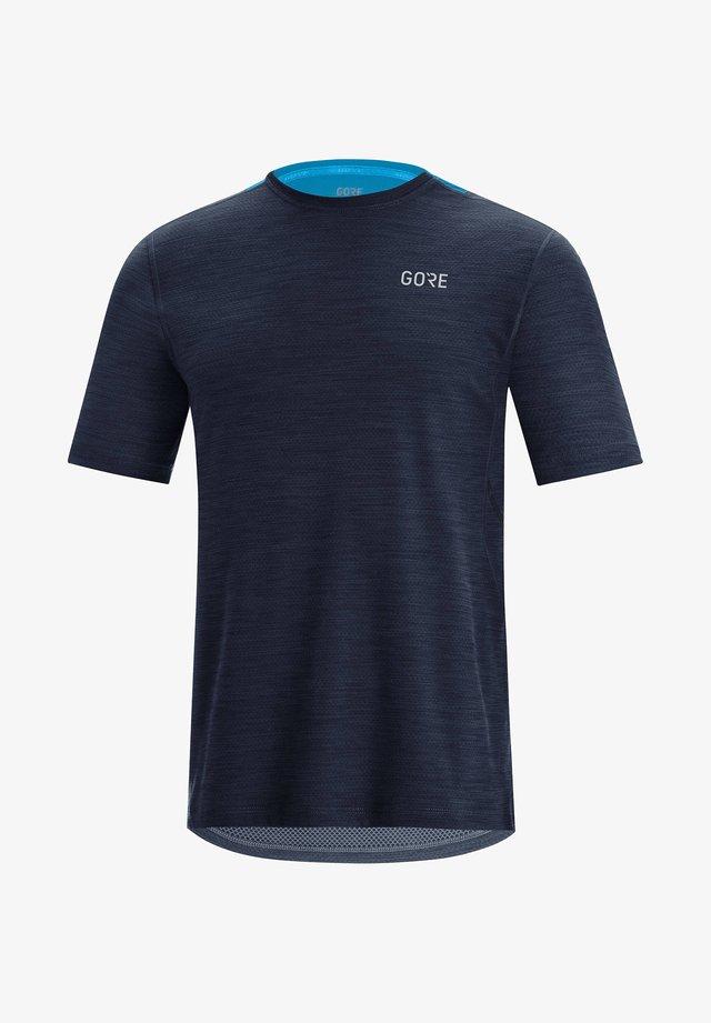 Print T-shirt - schwarz/blau (706)