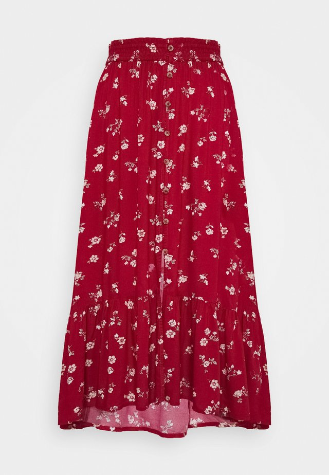TRIFECTA MIDI - A-line skirt - red floral