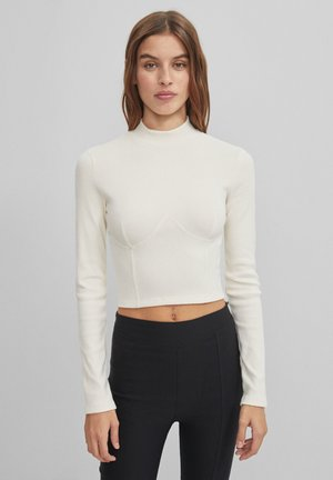 MIT SCHNEIDSPITZE  - Long sleeved top - stone
