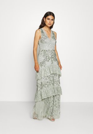 SLEEVELESS V NECK EMBELLISHED DRESS WITH TIERED SKIRT - Gallakjole - green