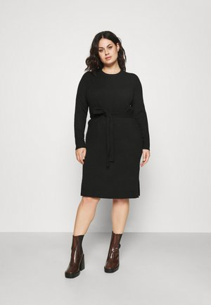 PCCAVA O-NECK DRESS - Gebreide jurk - black