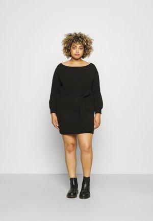 OFF SHOULDER KNIT DRESS WITH BELT - Jumper dress - black