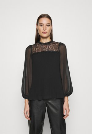 PLEATED LACE YOKE TOP - Blouse - black