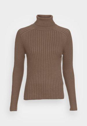 LONGSLEEVE TURTLE NECK STRUCTURE - Strikpullover /Striktrøjer - nutshell brown