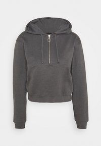 Even&Odd - Half zip through cropped hoodie - Mikina s kapucí - mottled grey - 0