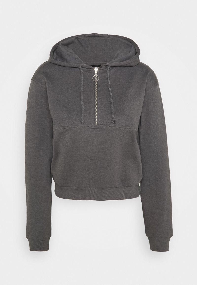 Even&Odd - Half zip through cropped hoodie - Mikina s kapucí - mottled grey