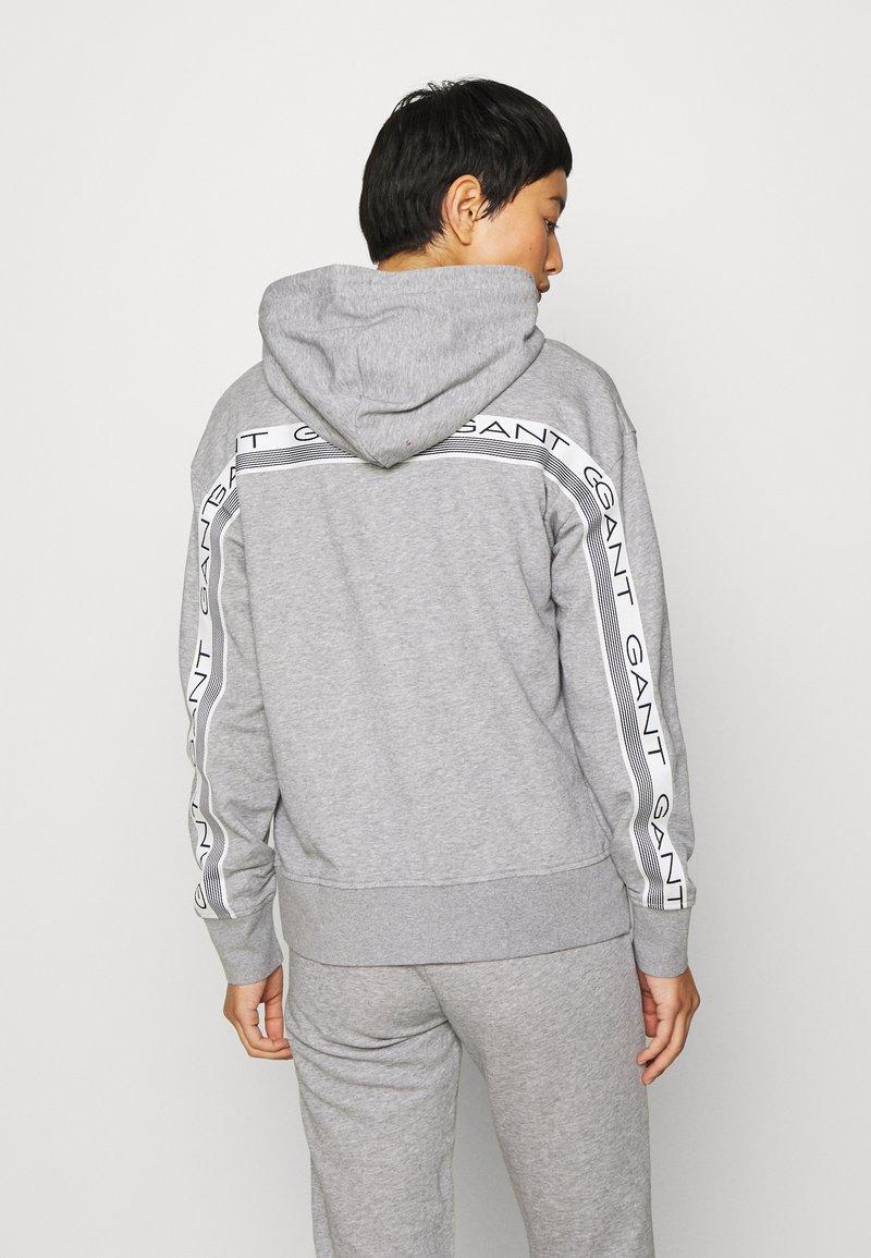 GANT - STRIPES FULL ZIP HOODIE - Zip-up hoodie - grey melange