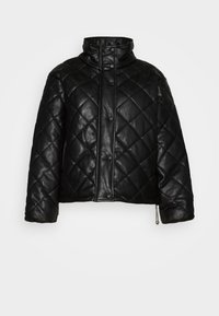 QUILTED JACKET WITH BUTTON DETAIL - Light jacket - black