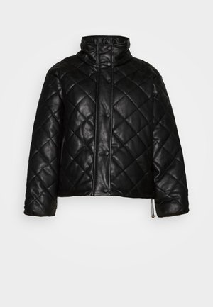QUILTED JACKET WITH BUTTON DETAIL - Chaqueta de entretiempo - black