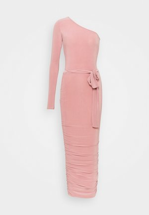 ONE SHOULDER SLINKY MIDI DRESS - Vestito di maglina - blush