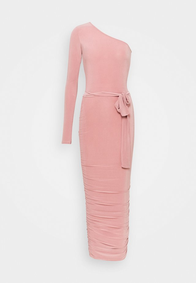 ONE SHOULDER SLINKY MIDI DRESS - Juhlamekko - blush