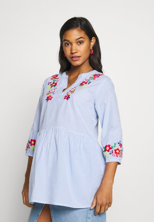 TICKING STRIPE EMBROIDERED  - Blouse - blue