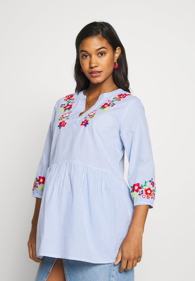 TICKING STRIPE EMBROIDERED  - Blus - blue