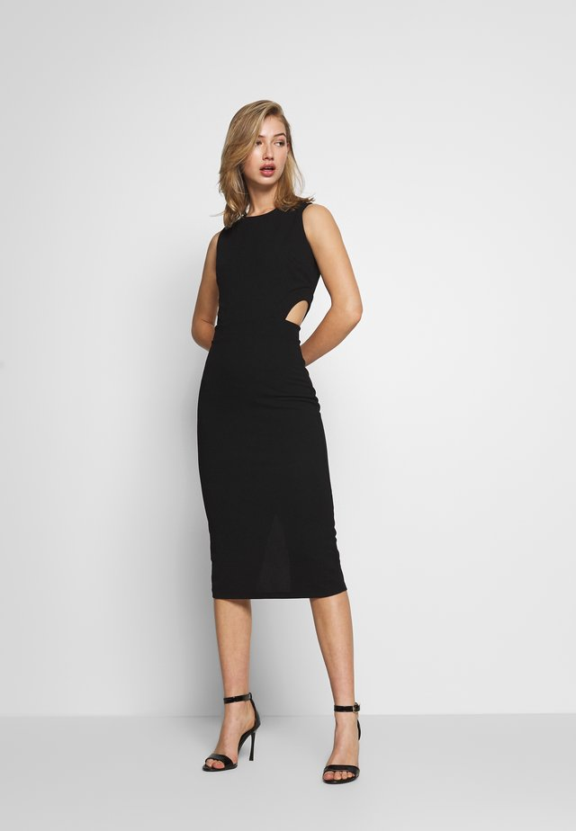 WAIST CUT-OUT BODYCON MIDI DRESS - Shift dress - black