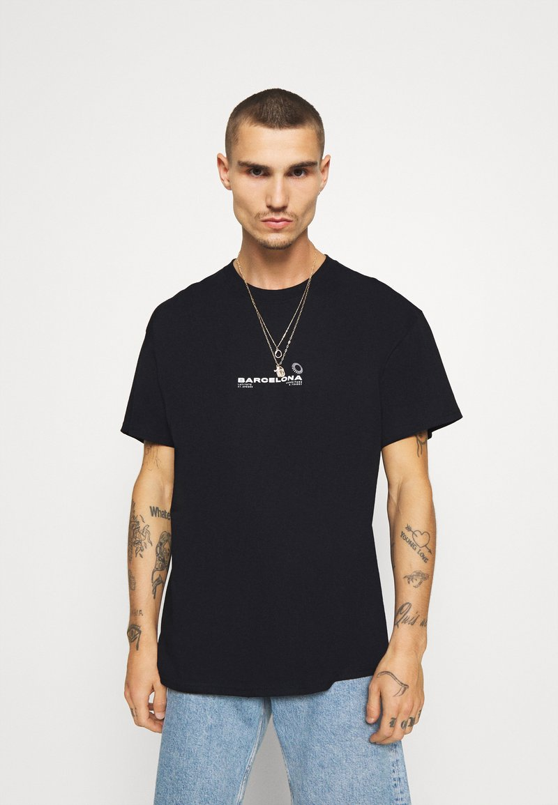 Topman - BARCELONA PRINT TEE - Print T-shirt - black