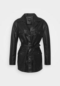 ONLVIBE BELT SHACKET - Faux leather jacket - black