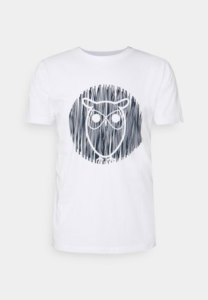 ALDER OUTLINE TEE - Print T-shirt - bright white