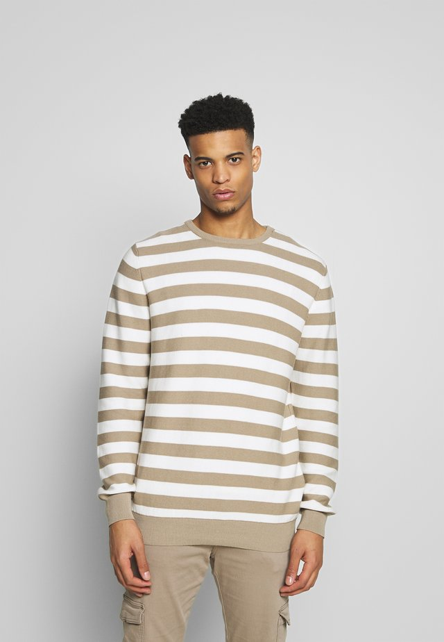 THE ORGANIC STRIPED KNIT - Jumper - chinchilla