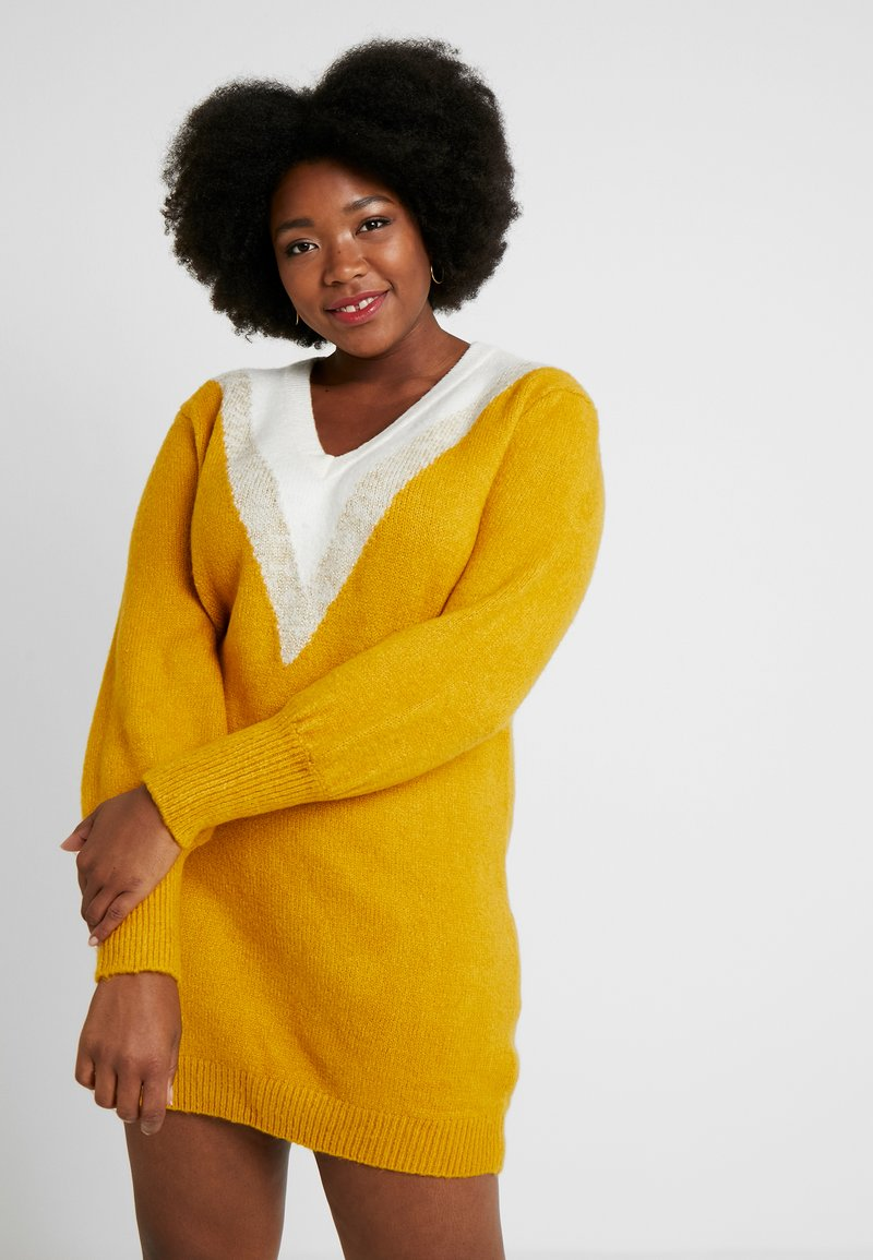 Simply Be - ELEVATED ESSENTIALS V-NECK DRESS - Strikket kjole - colour block chevron