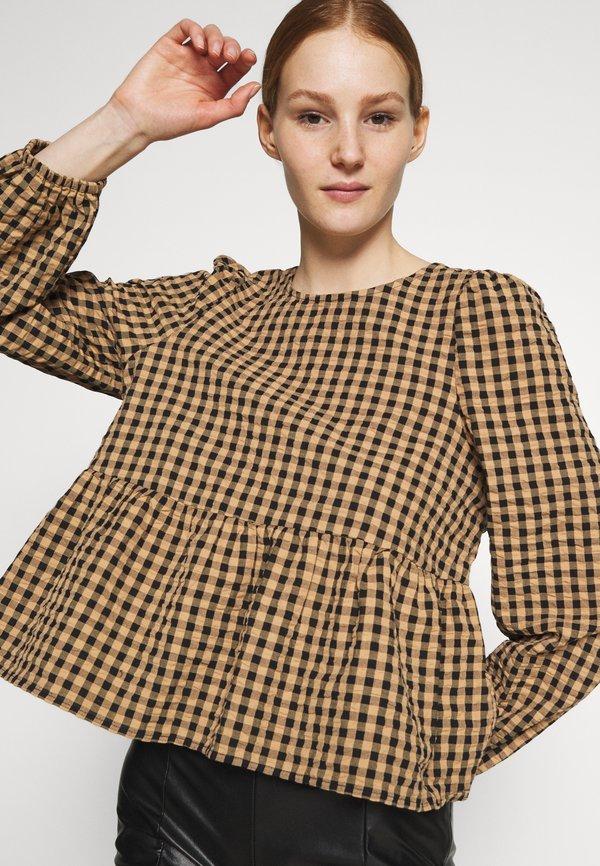 Monki MARIA PEPLUM BLOUSE - Bluzka z długim rękawem - black/czarny VRUP