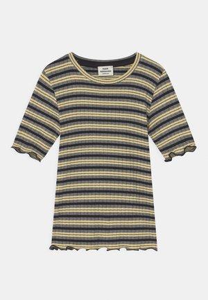 STRIPE TUVIANA UNISEX - Print T-shirt - black/pale banana/white